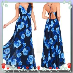 Only in Dreams  Navy Blue Floral Print Maxi Dress